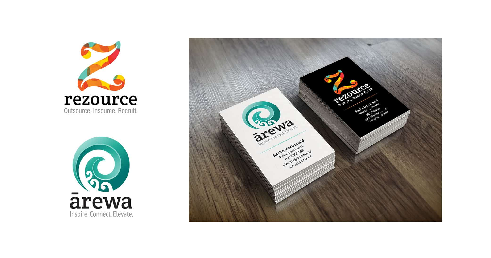 Brand development and business cards for Rezource and Ārewa